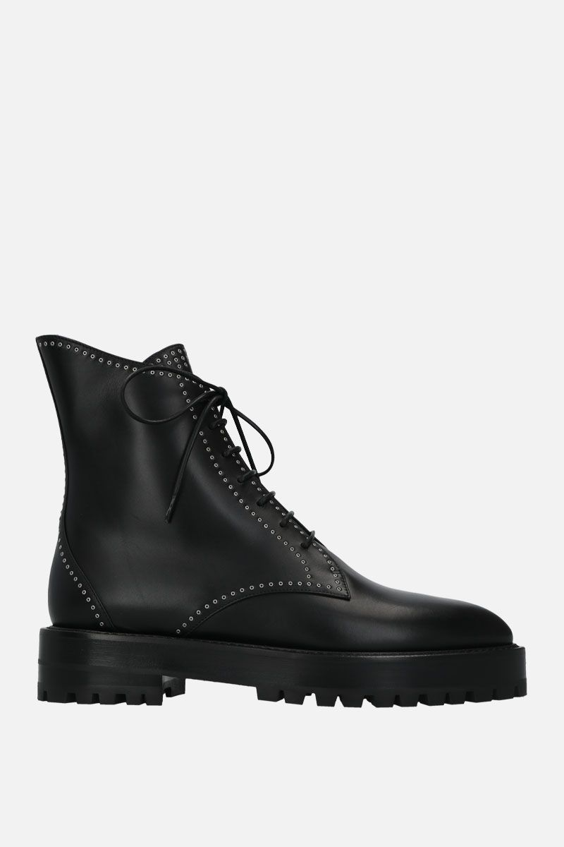 ALAIA: studded smooth leather combat boots Color Black_1