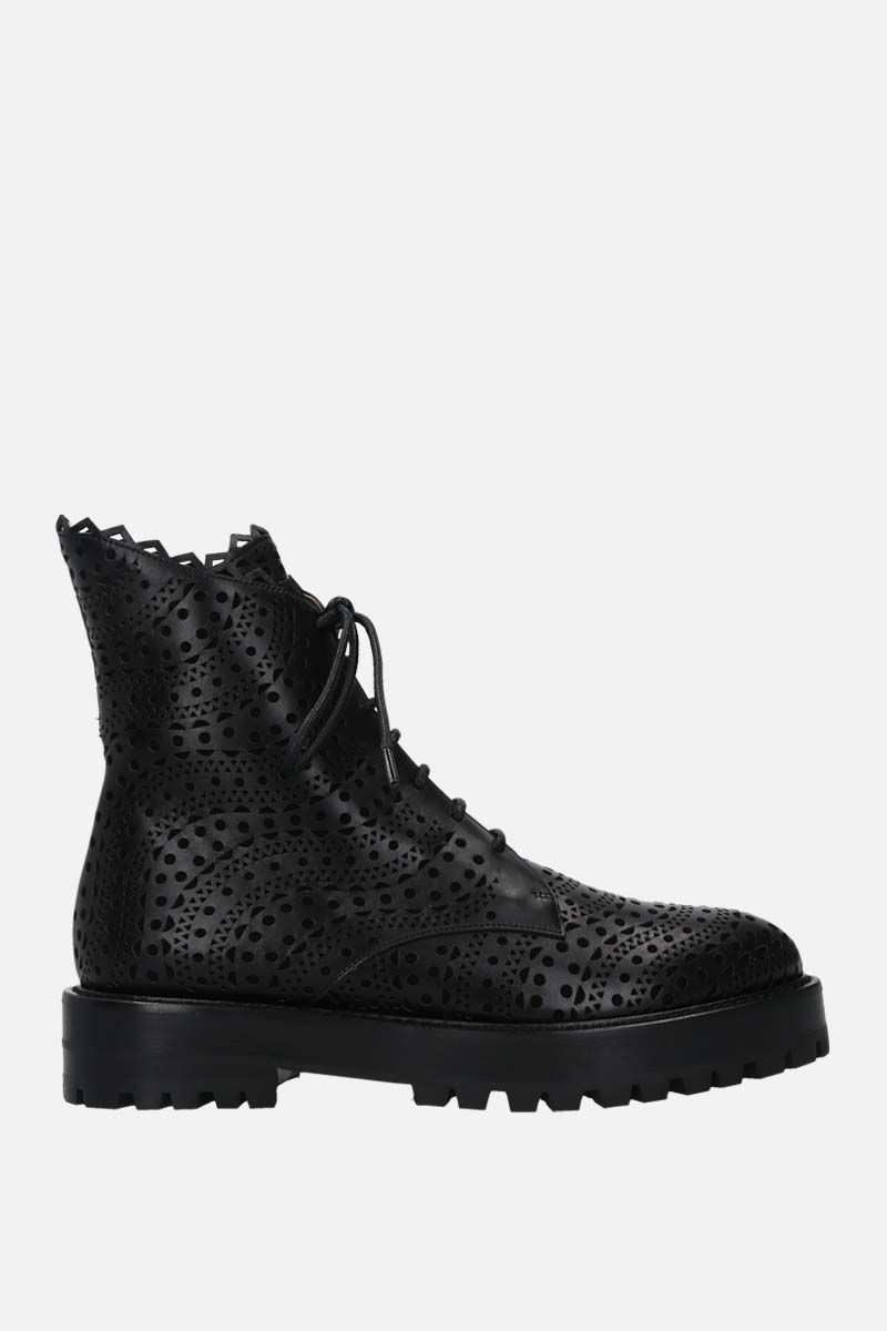 ALAIA: laser-cut smooth leather and suede combat boots Color Black_1