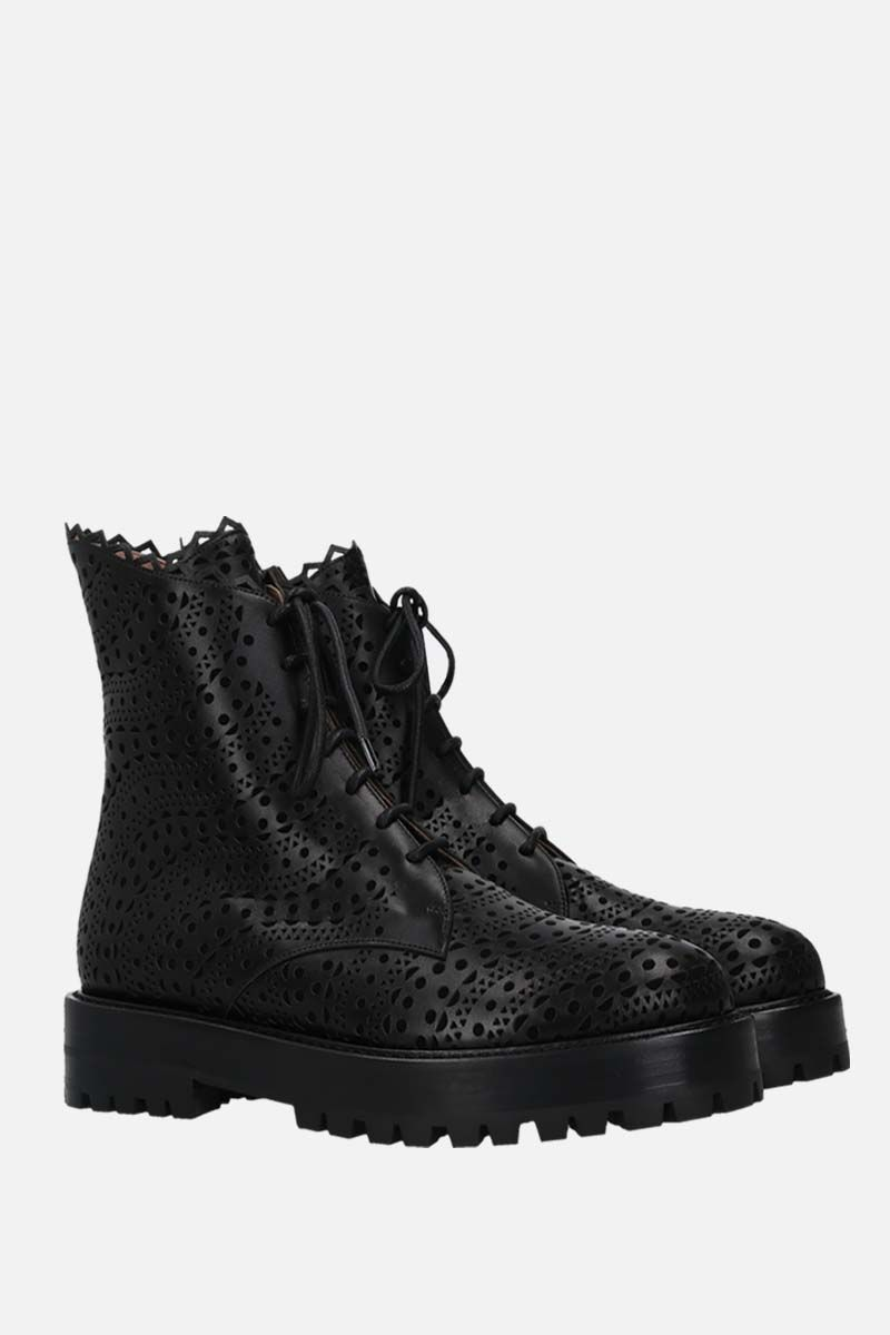 ALAIA: laser-cut smooth leather and suede combat boots Color Black_2