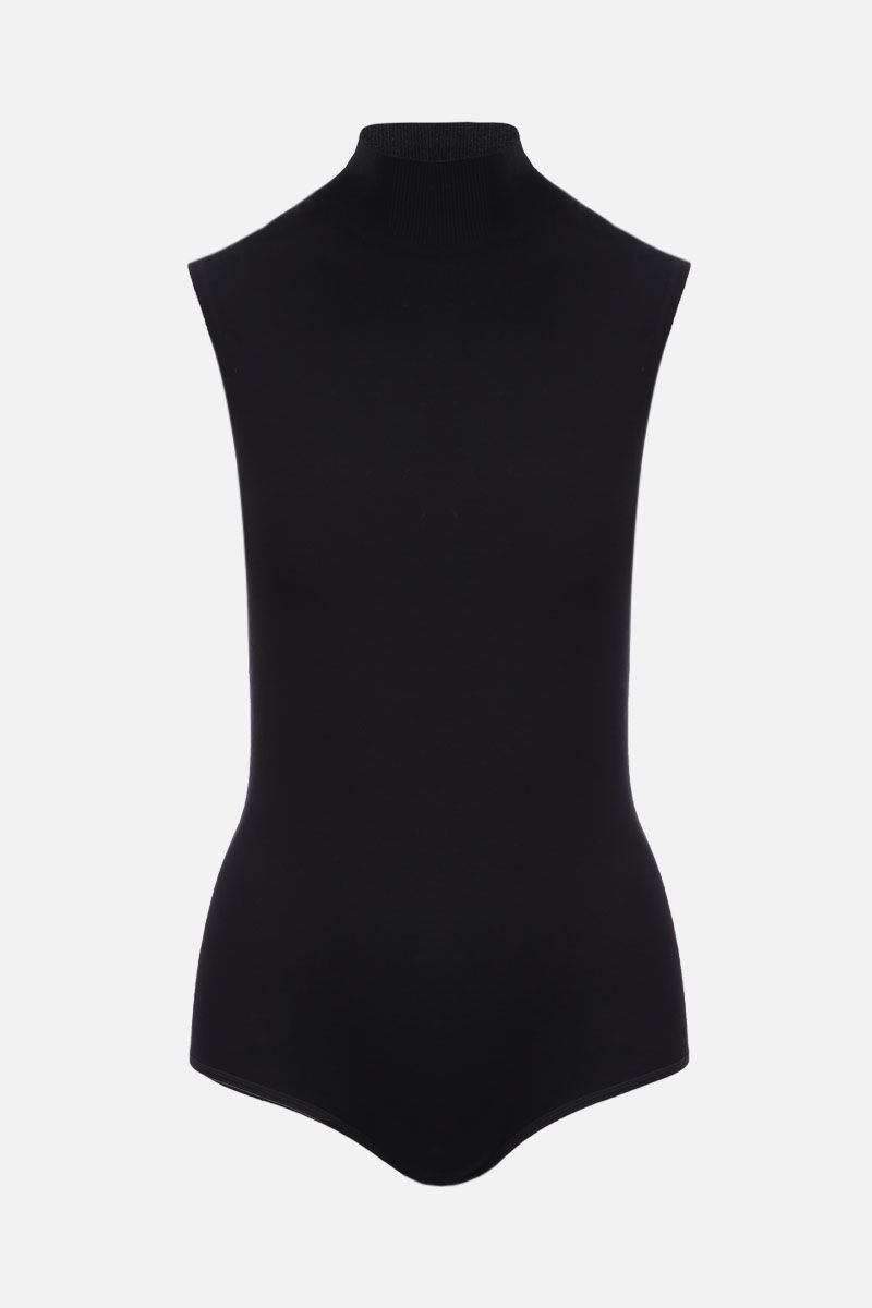 ALAIA: wool blend sleeveless bodysuit Color Black_1