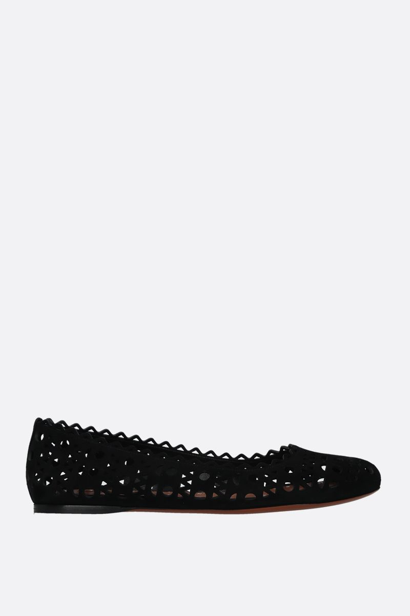 ALAIA: laser-cut suede ballerinas Color Black_1