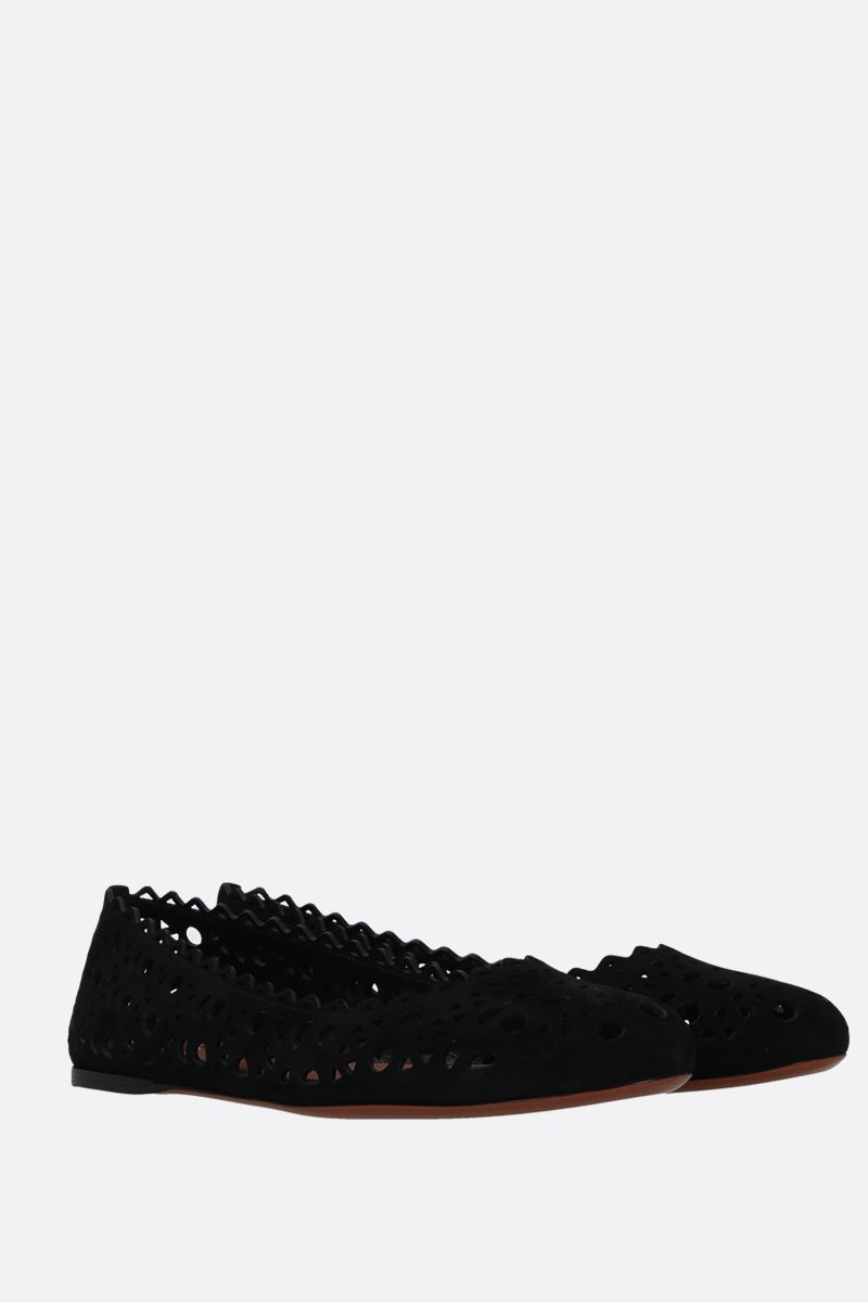 ALAIA: laser-cut suede ballerinas Color Black_2