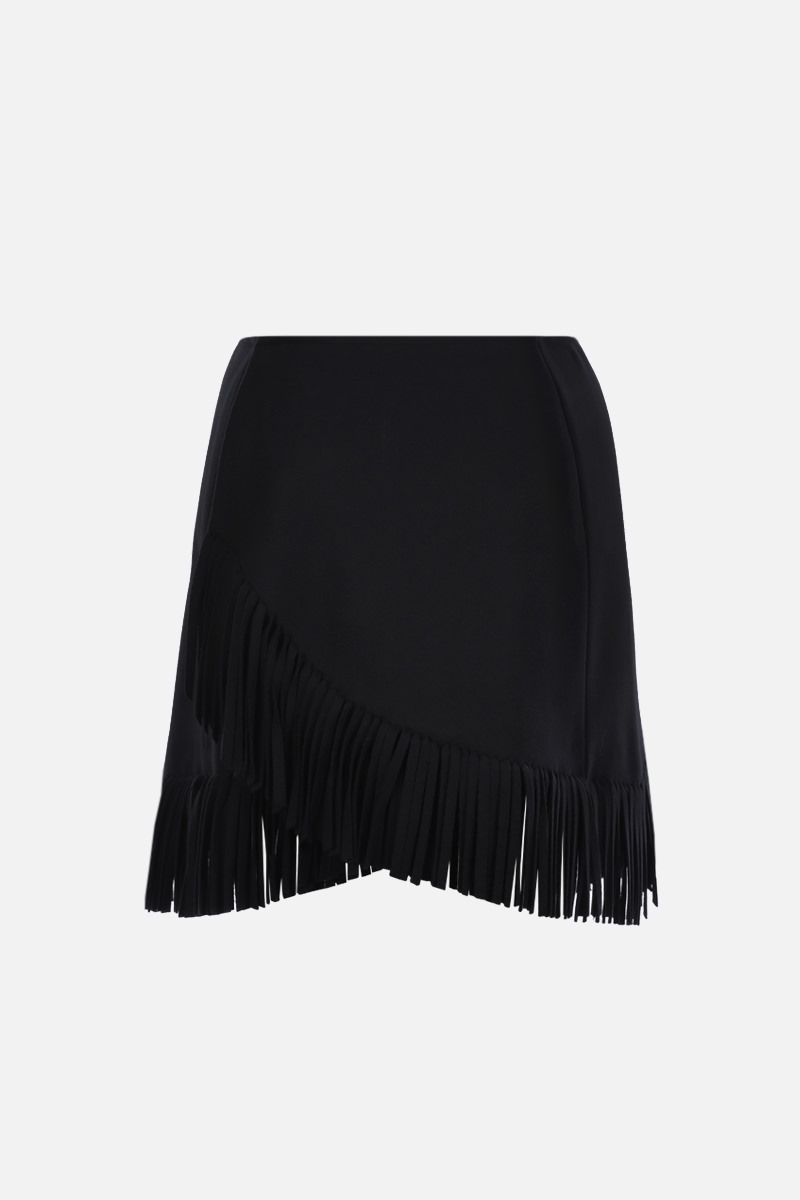 ALAIA: fringe-detailed wool cashmere blend wrap miniskirt Color Black_1