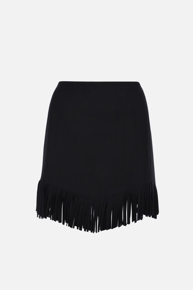 ALAIA: fringe-detailed wool cashmere blend wrap miniskirt Color Black_2