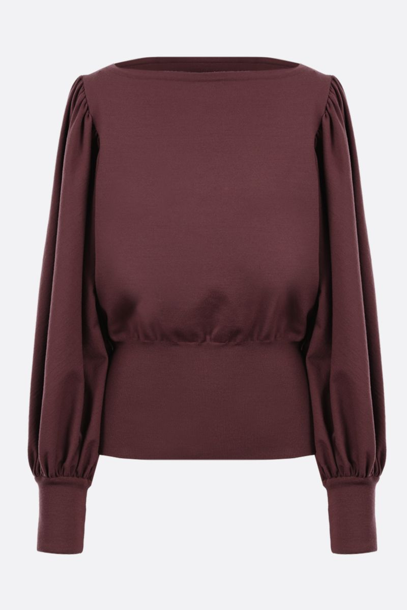 ALAIA: puff sleeve-detailed wool blend pullover Color Brown_1