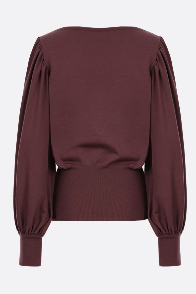 ALAIA: puff sleeve-detailed wool blend pullover Color Brown_2