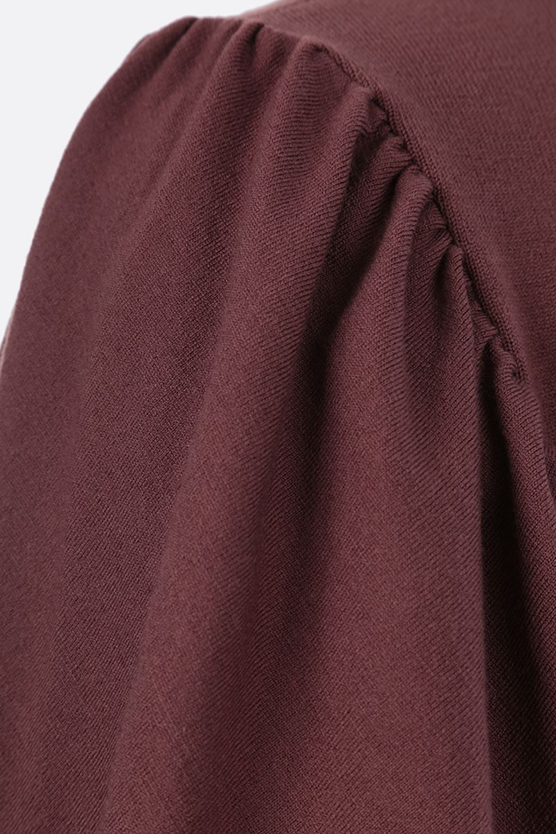 ALAIA: puff sleeve-detailed wool blend pullover Color Brown_3