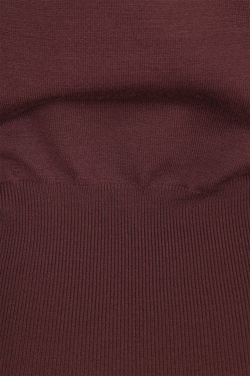ALAIA: puff sleeve-detailed wool blend pullover Color Brown_4
