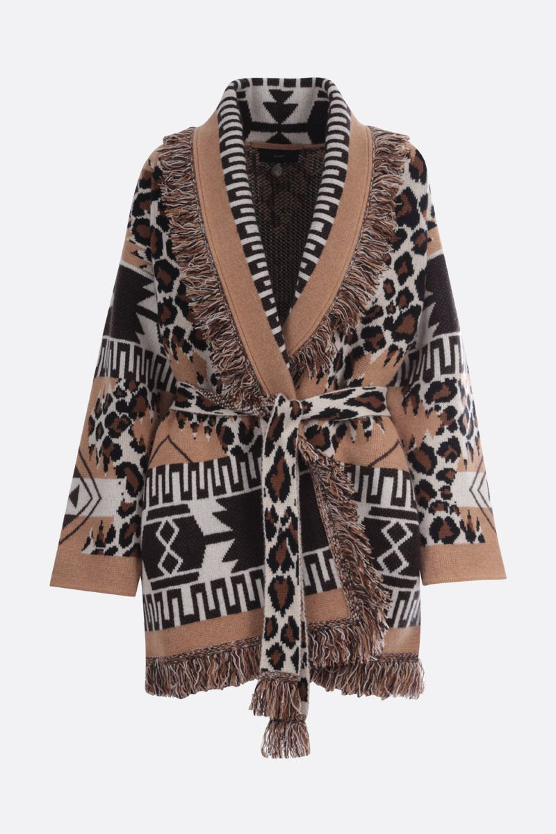 ALANUI: Leopard cashmere oversize cardigan Color Brown_1