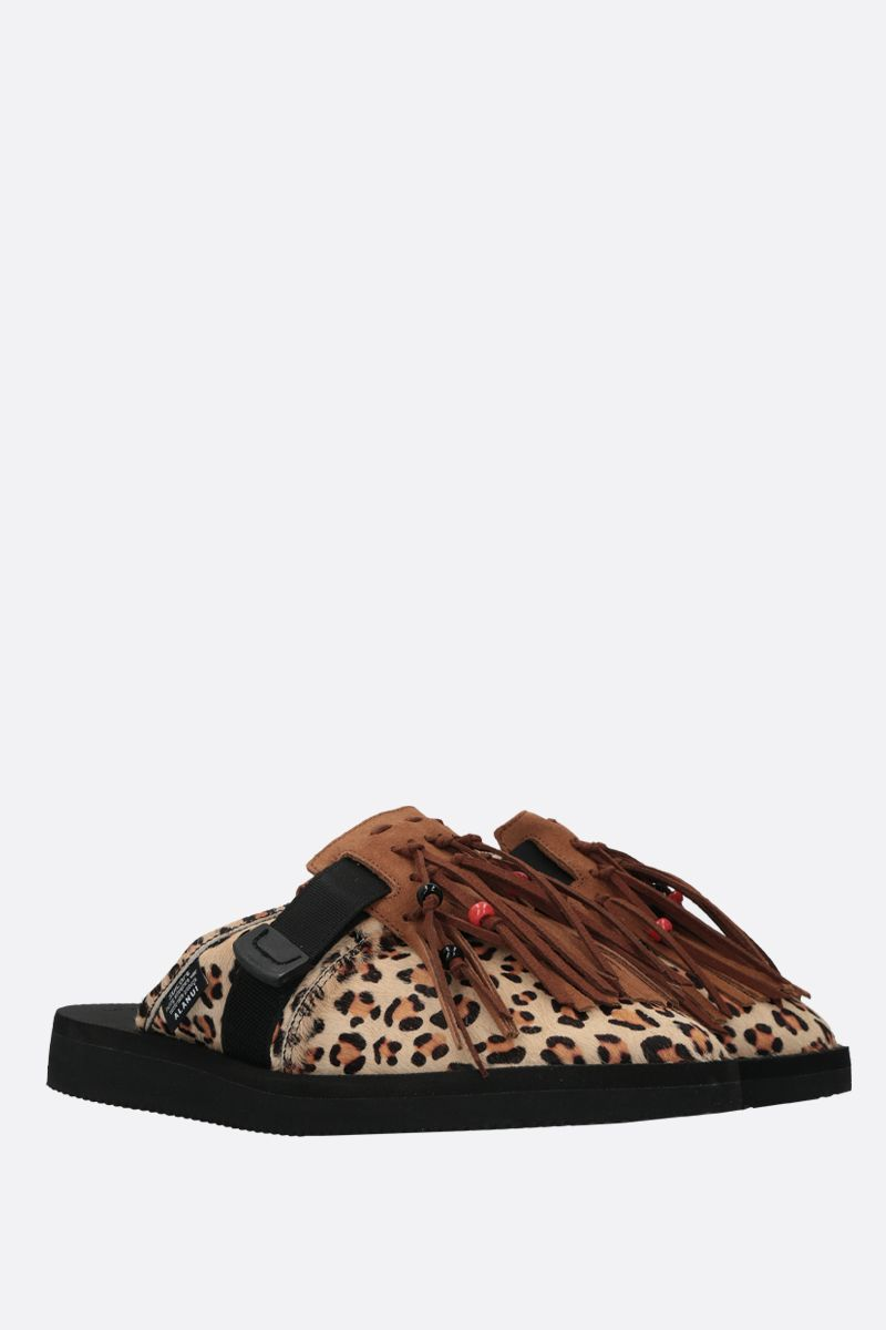 ALANUI: Suicoke leopard calf hair mules Color Multicolor_2