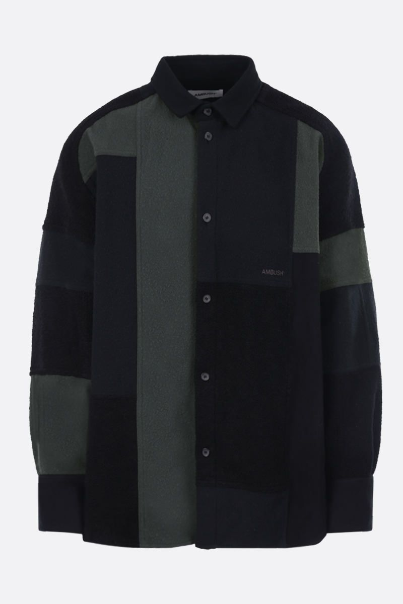 AMBUSH: oversize fleece and bouclè shirt Color Black_1