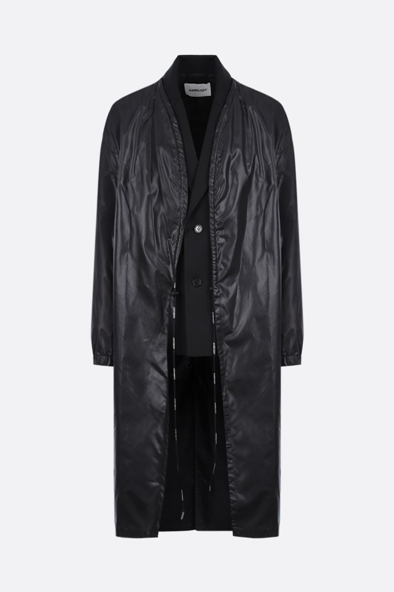 AMBUSH: wool blend and nylon layered coat Color Black_1