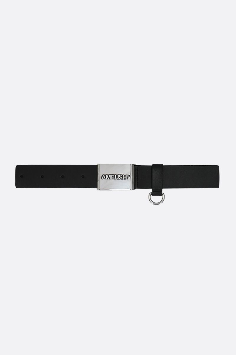 AMBUSH: logoed buckle smooth leather belt Color Black_1