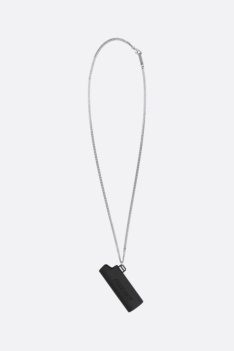AMBUSH: collana in ottone smaltato con pendente Lighter Case Colore Nero_1