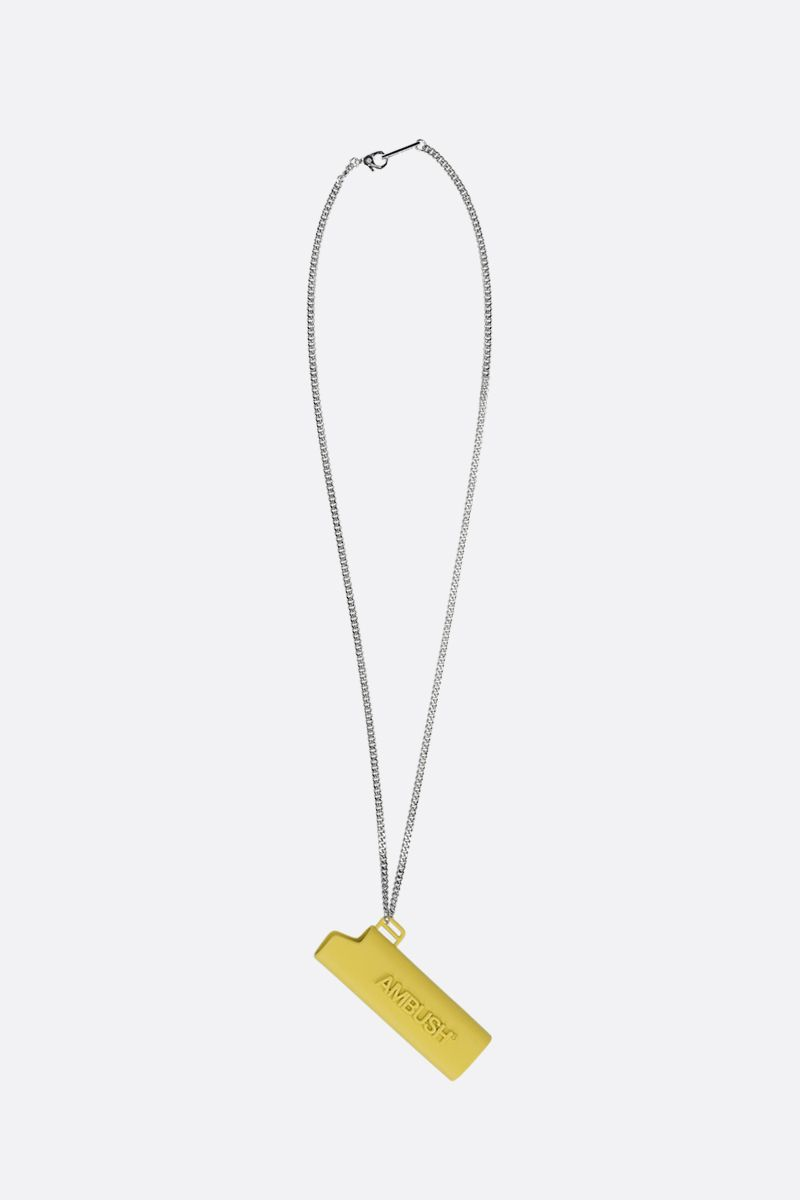 AMBUSH: Light Case charm enameled brass necklace Color Yellow_1