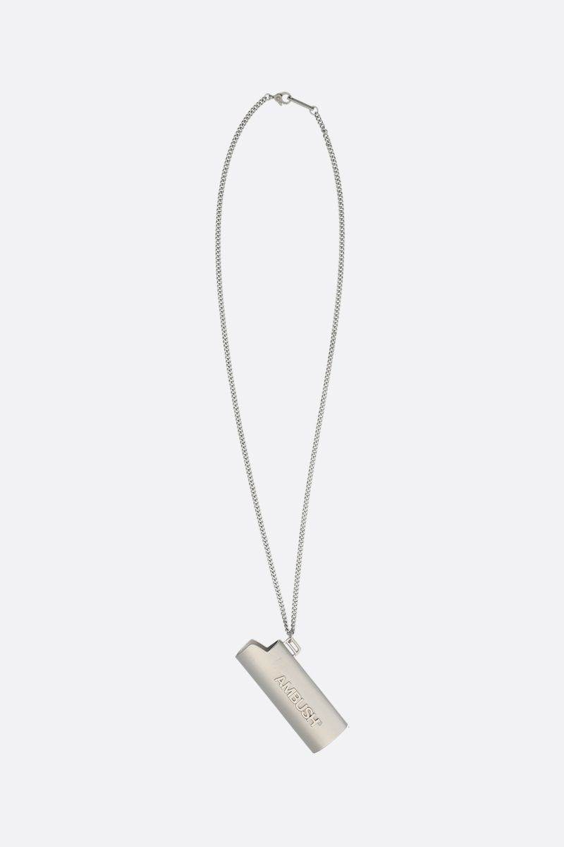 AMBUSH: Light Case charm brass necklace Color Silver_1
