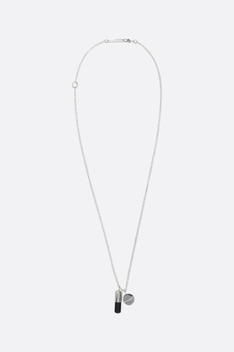 AMBUSH: Pill pendant silver necklace Color Black_1