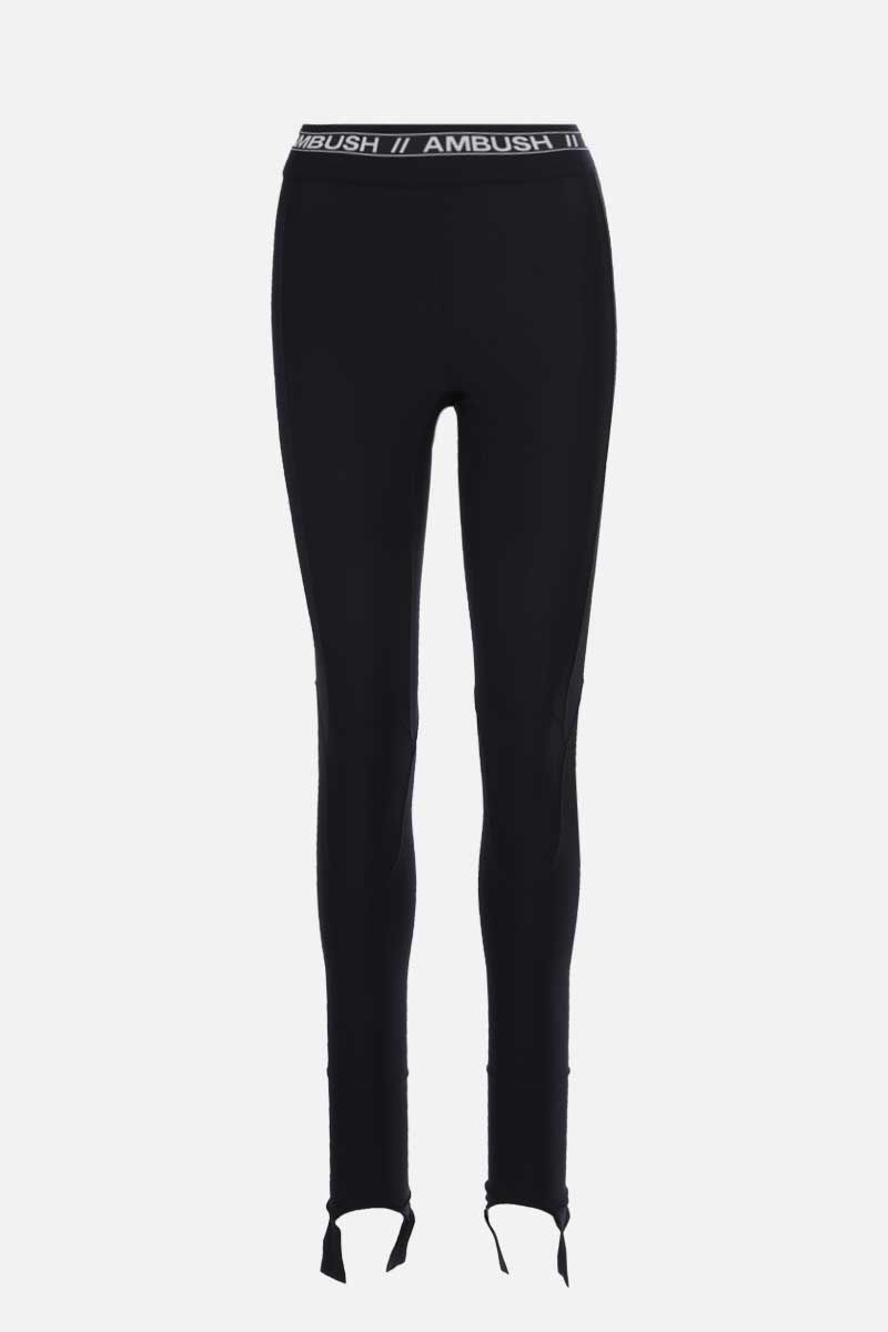 AMBUSH: logo-detailed stretch jersey leggings Color Black_1
