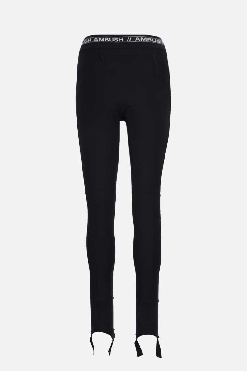 AMBUSH: logo-detailed stretch jersey leggings Color Black_2