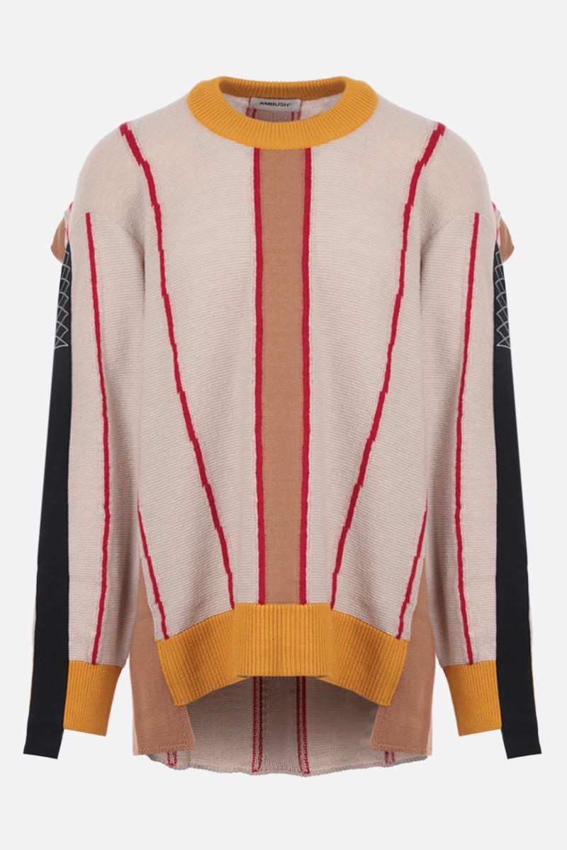 AMBUSH: striped wool blend destructured pullover_1
