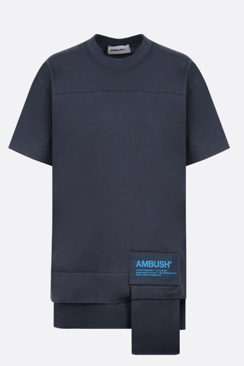 AMBUSH: Ambush® print cotton t-shirt Color Blue_1