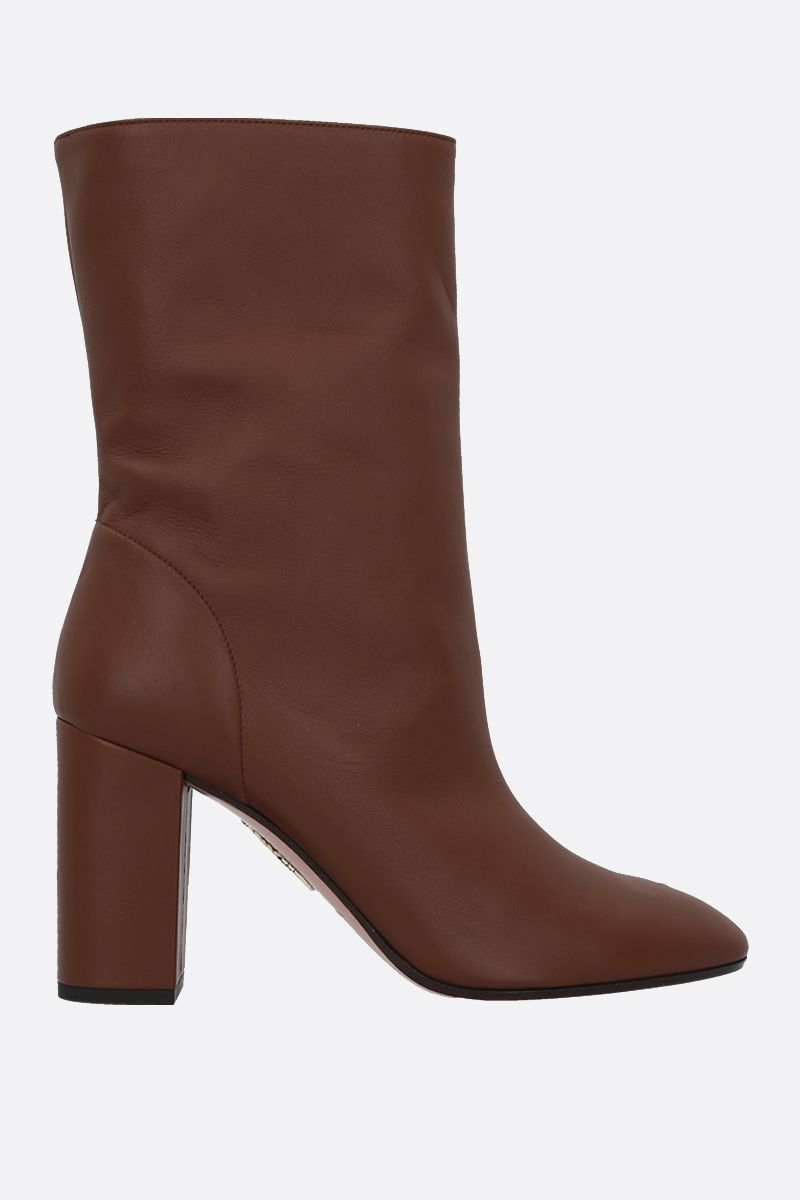 AQUAZZURA: Boogie soft nappa booties Color Brown_1