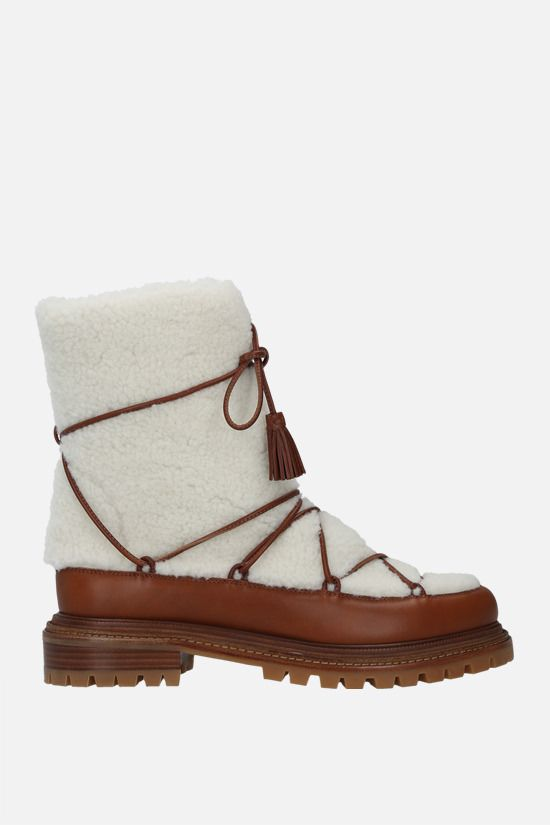 AQUAZZURA: Very Aspen shearling and smooth leather boots Color White_1