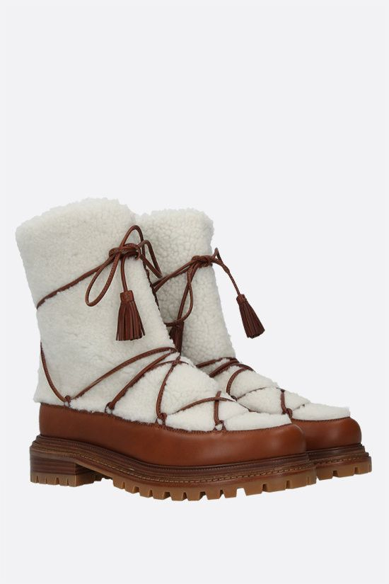 AQUAZZURA: Very Aspen shearling and smooth leather boots Color White_2