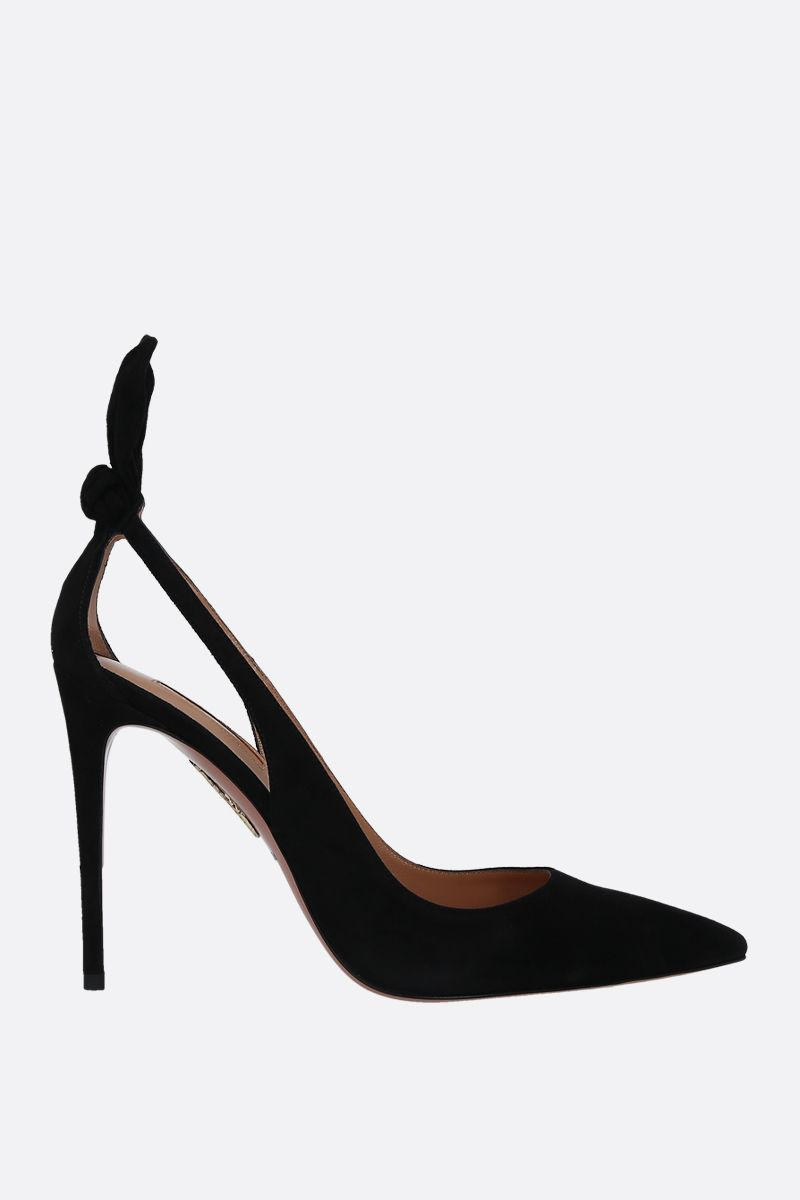 AQUAZZURA: Bow Tie velvet suede pumps Color Black_1