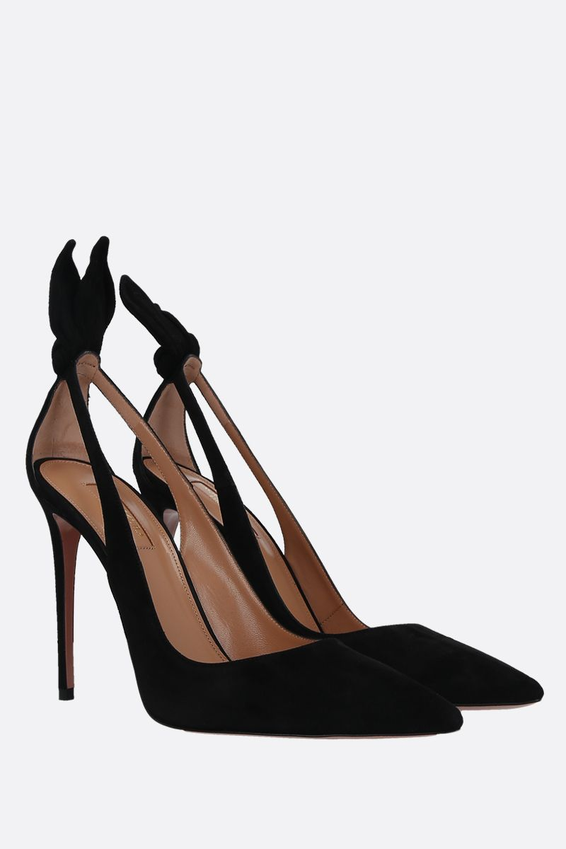 AQUAZZURA: Bow Tie velvet suede pumps Color Black_2