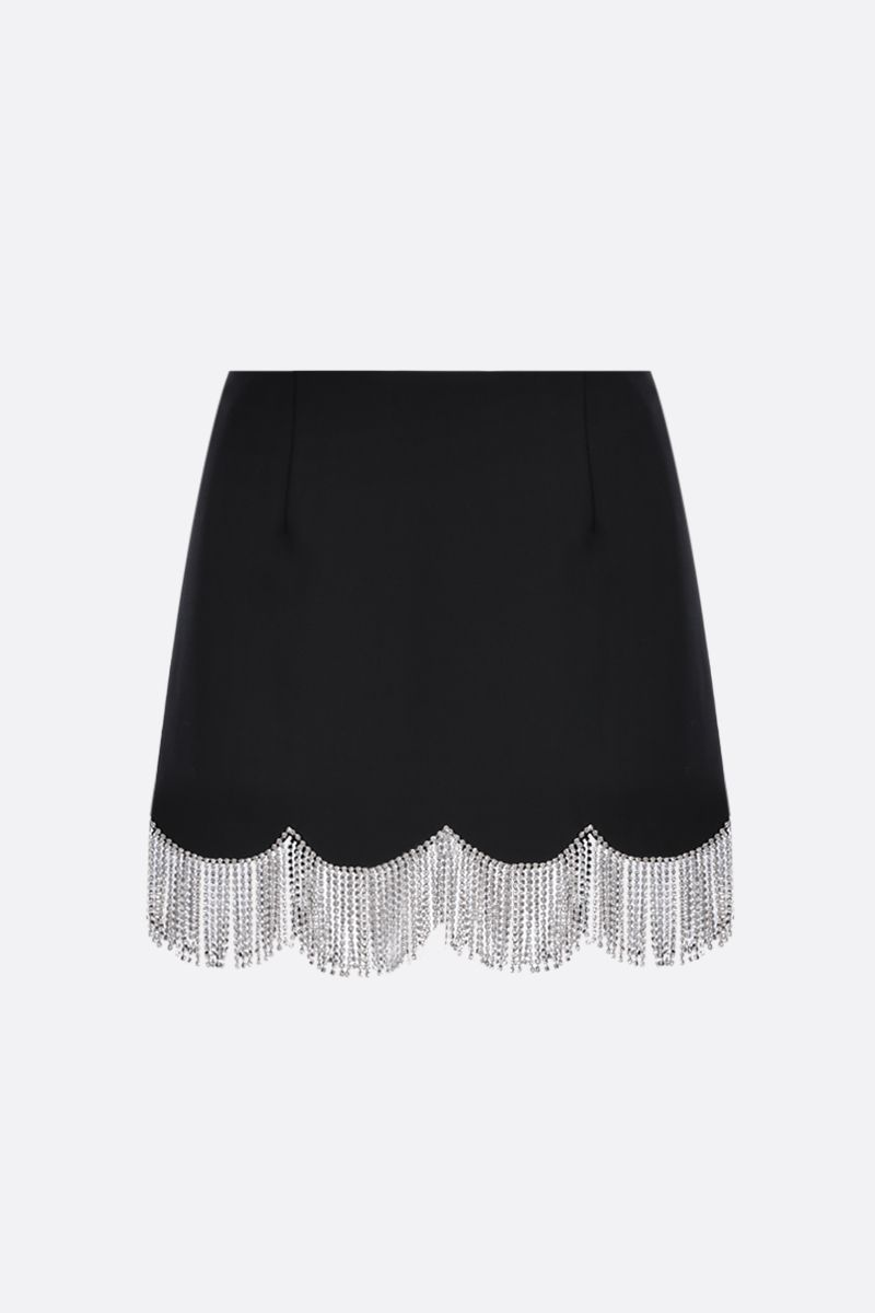 AREA: scalloped crystal hem-detailed stretch cady miniskirt Color Black_1