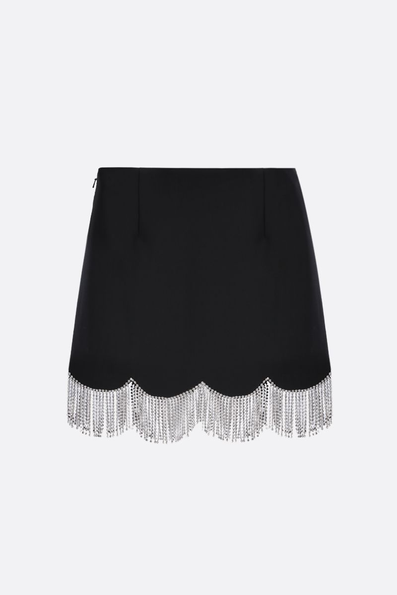 AREA: scalloped crystal hem-detailed stretch cady miniskirt Color Black_2