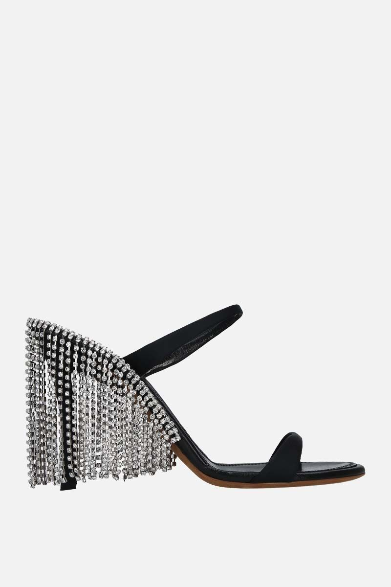 AREA: crystal-embellished satin mule sandals Color Black_1
