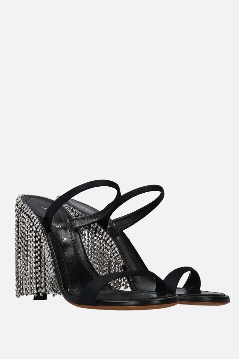 AREA: crystal-embellished satin mule sandals Color Black_2