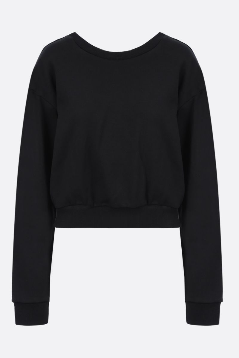 AREA: crystal-embellished cropped cotton sweatshirt Color Black_1