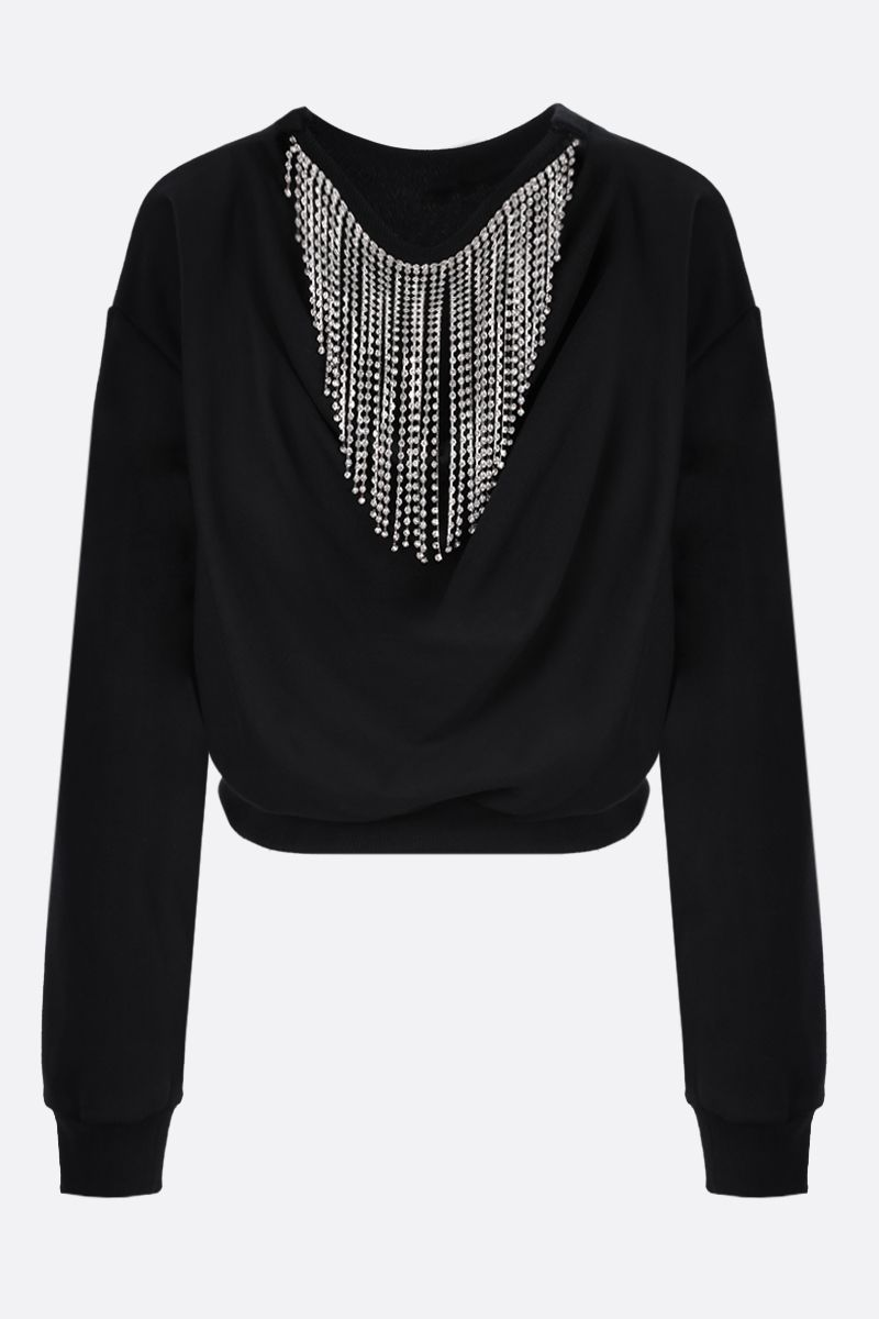 AREA: crystal-embellished cropped cotton sweatshirt Color Black_2