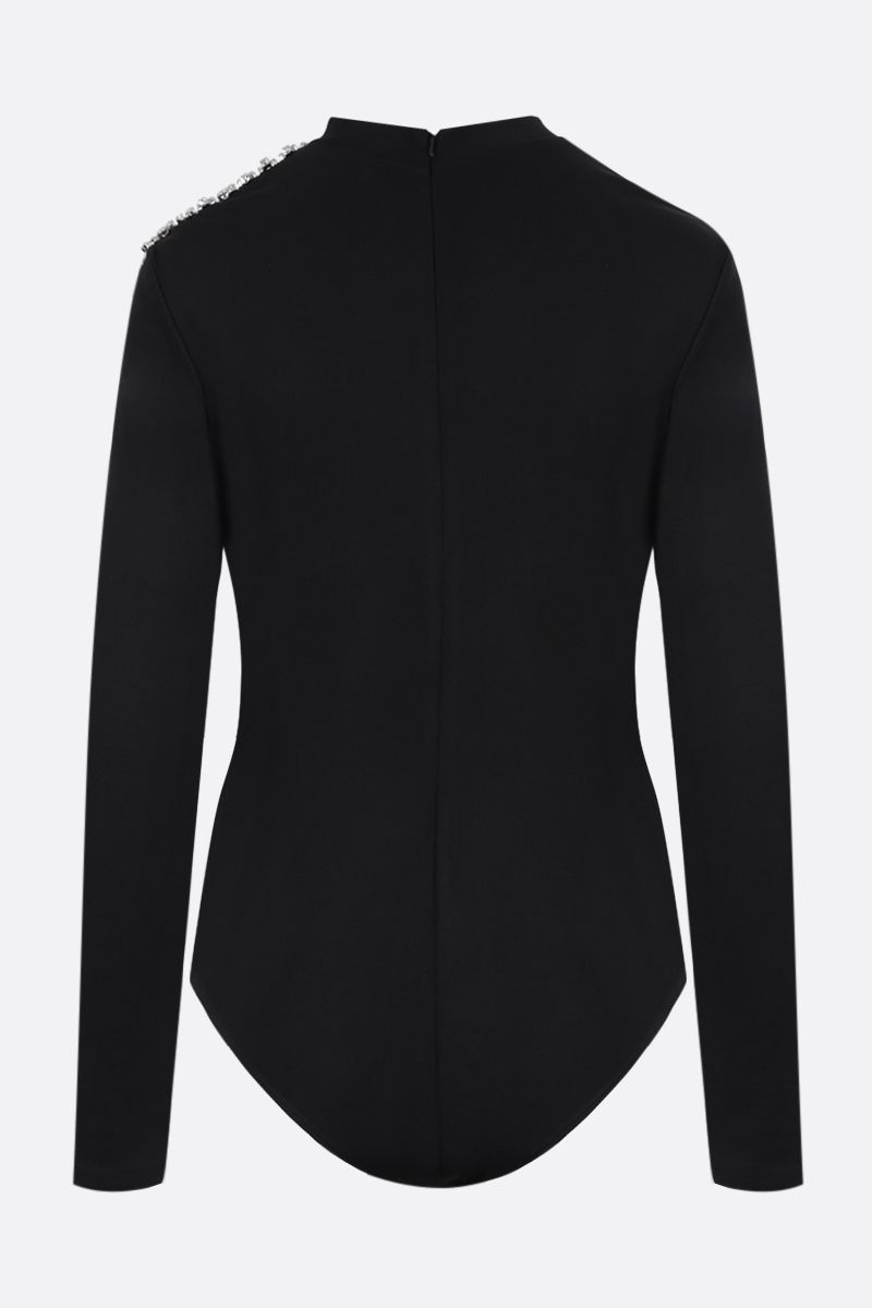 AREA: cut-out-detailed stretch jersey bodysuit Color Black_2