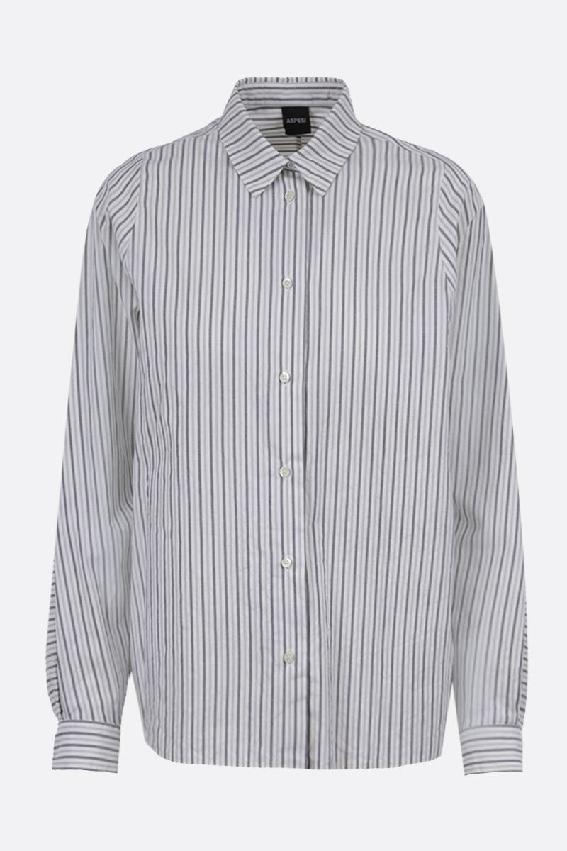 ASPESI: striped cotton shirt Color Grey_1