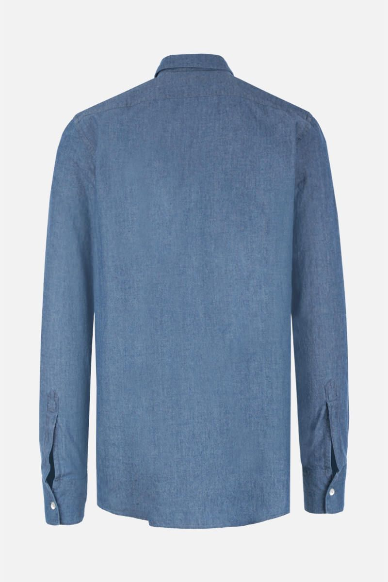 ASPESI: Sedici cotton chambray shirt Color Blue_2