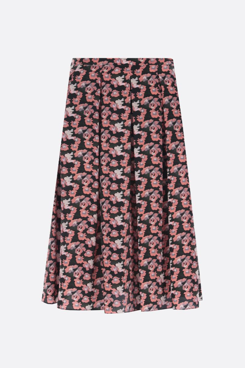 ASPESI: floral print silk pleated skirt Color Pink_1