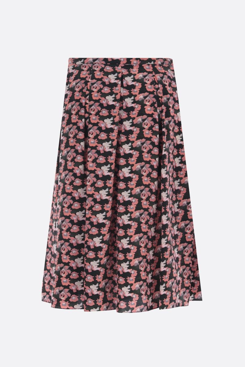 ASPESI: floral print silk pleated skirt Color Pink_2