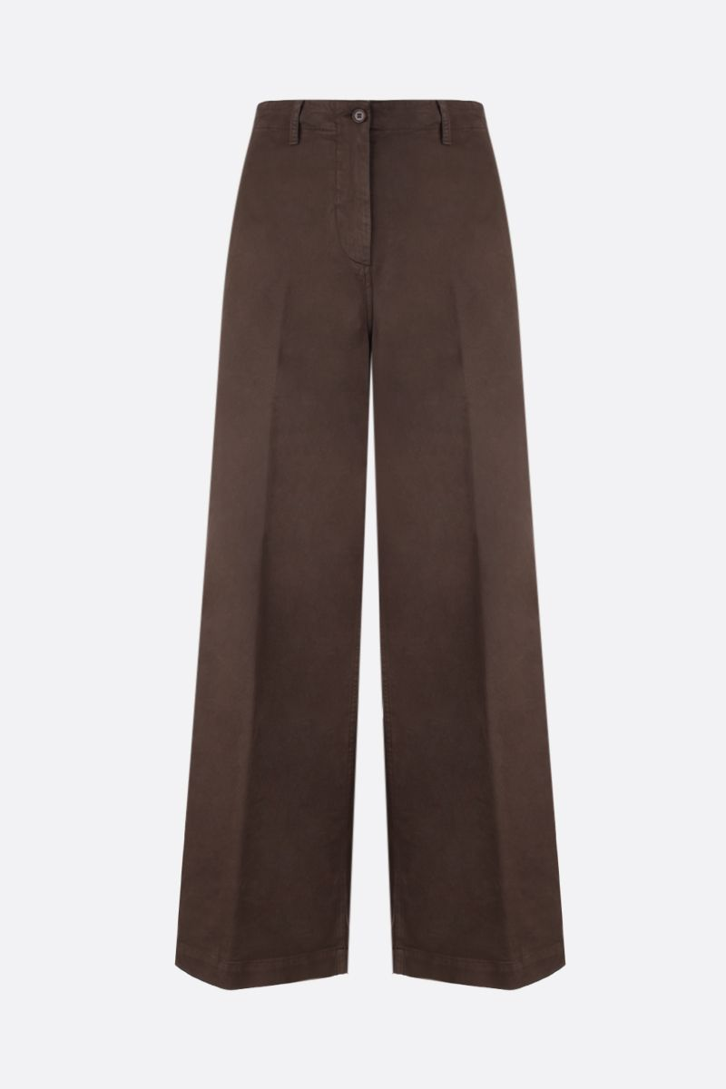 ASPESI: stretch cotton wide-leg pants Color Brown_1