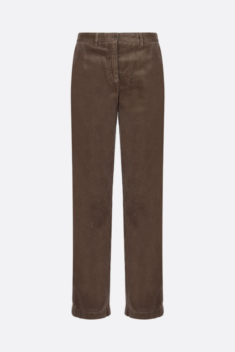 ASPESI: corduroy cropped pants Color Brown_1