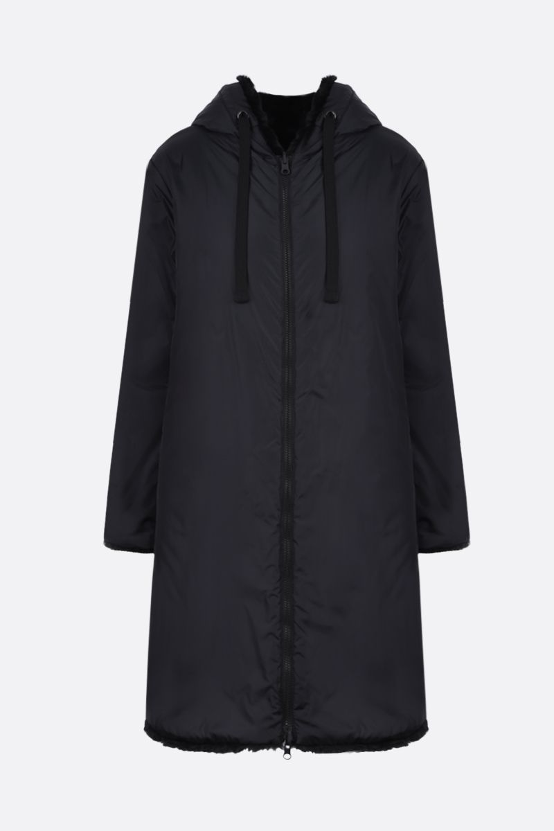 ASPESI: Plumcake reversible nylon and faux fur parka Color Black_1