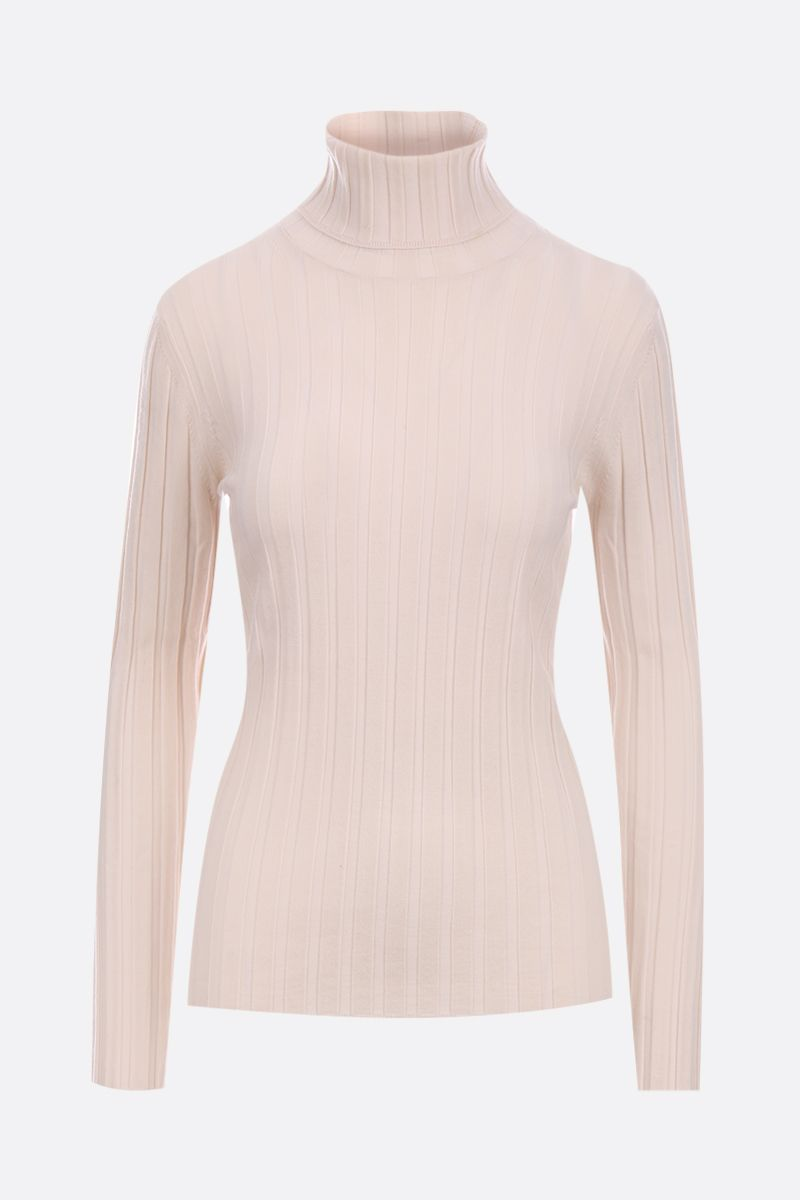 ASPESI: ribbed stretch wool turtleneck Color Neutral_1