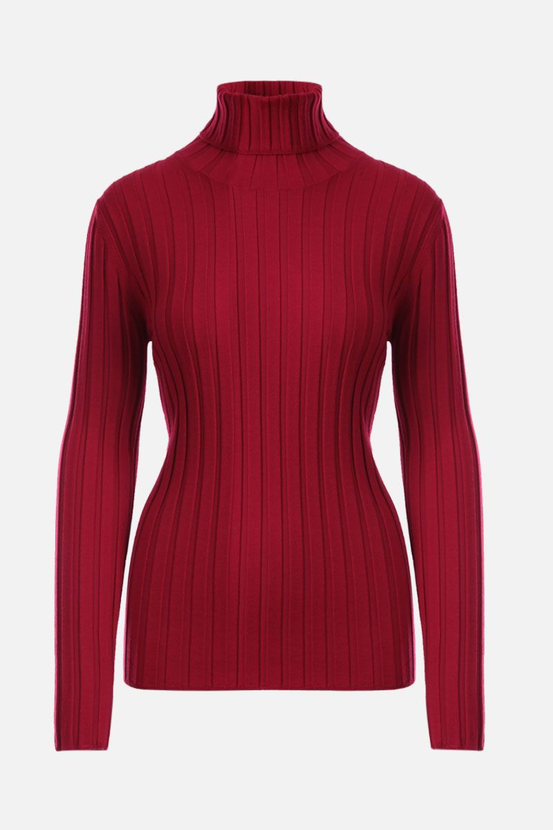 ASPESI: ribbed stretch wool turtleneck Color Red_1