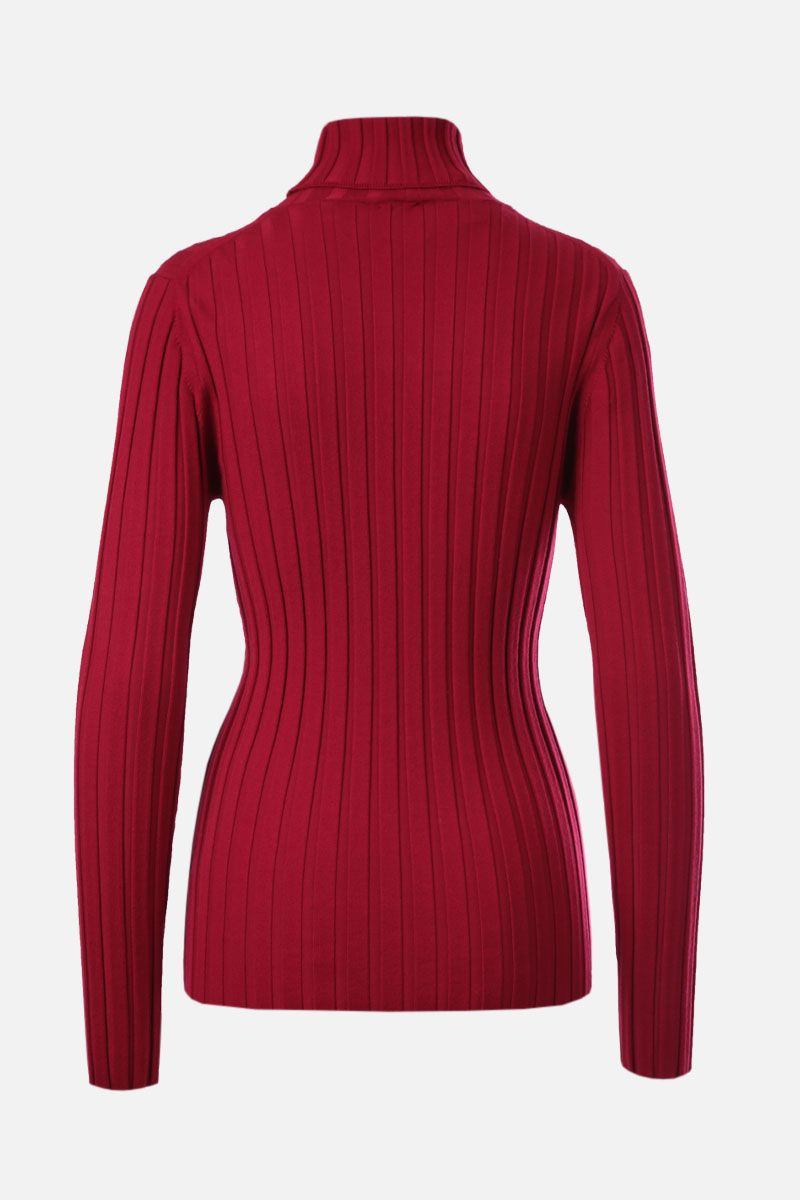 ASPESI: ribbed stretch wool turtleneck Color Red_2