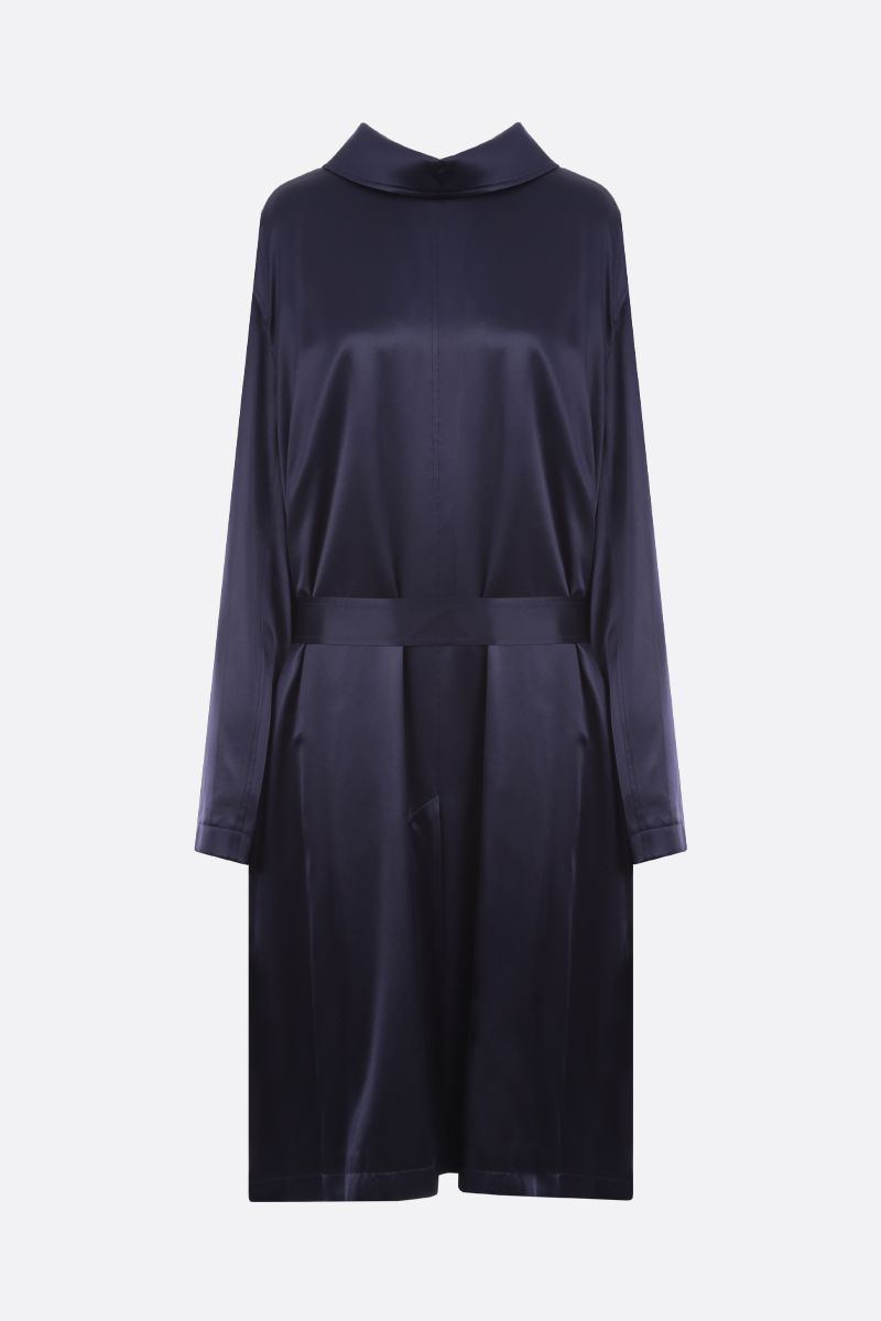 BALENCIAGA: Back to Front satin midi dress Color Blue_1
