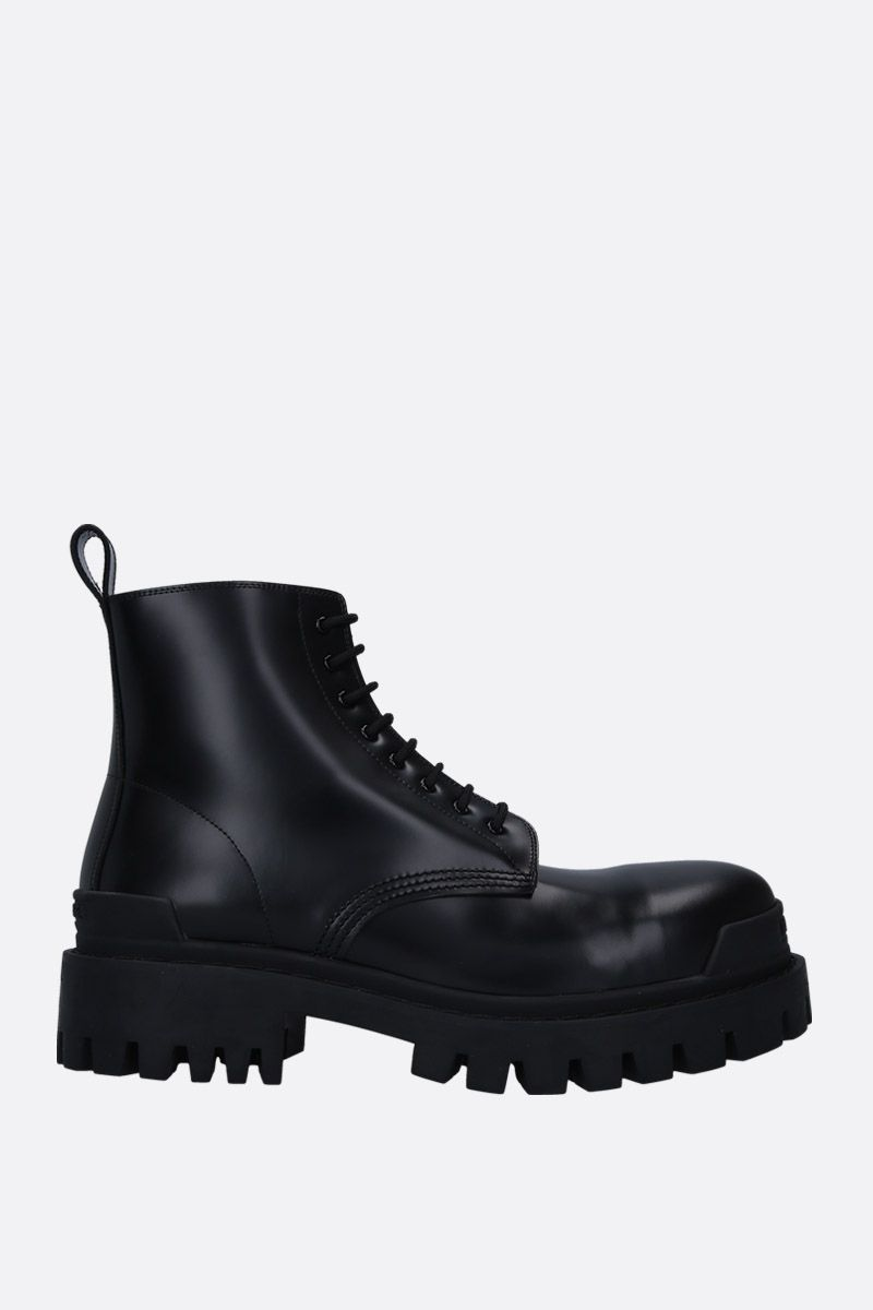 BALENCIAGA: Strike matte leather combat boots Color Black_1