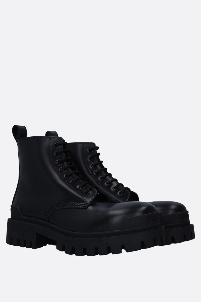 BALENCIAGA: Strike matte leather combat boots Color Black_2